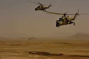 """Socalled """"Hind"""" just took off from the airfiled as we left the military main gate. They're russian built helicopters from ISAF archives (Foto: Isaf)"""