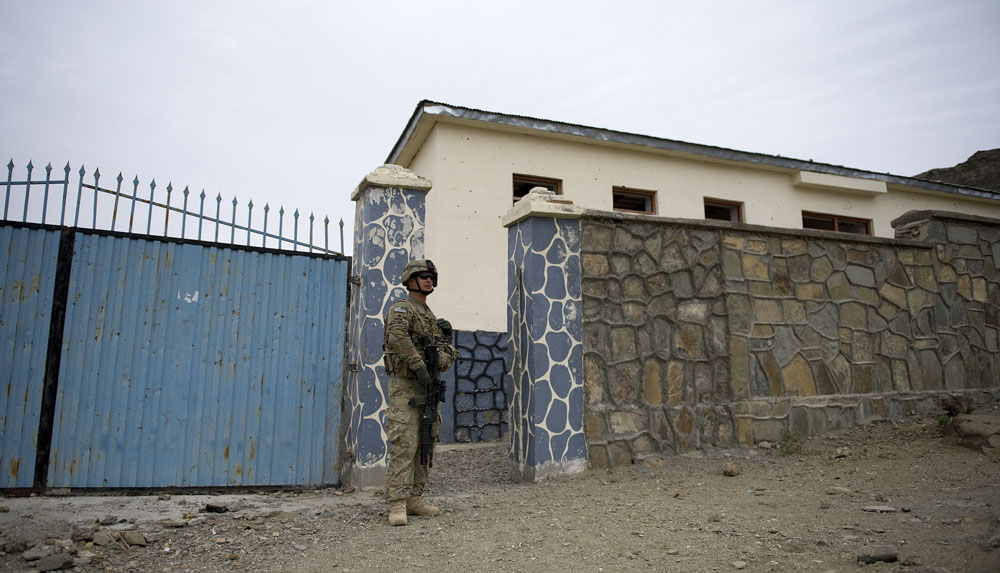 The deserted school compound in Sar Howsa from the outside
