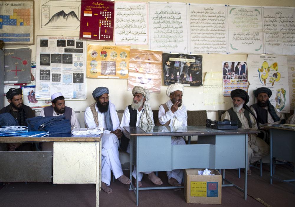 "Meeting at a boy""s school in Mata Khan"
